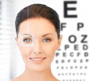 future technology, medicine and vision concept - woman and eye c